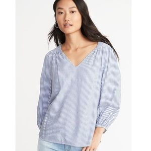 Striped Twill Swing Blouse